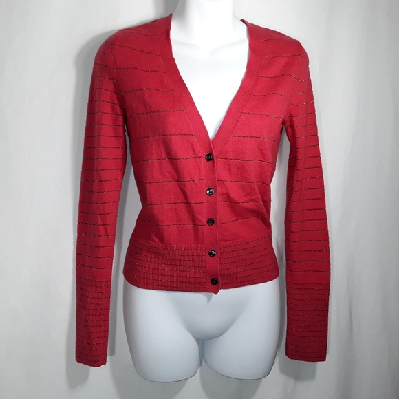 American Eagle Outfitters Sweaters - American Eagle Outfitters Red Metallic Cardigan SP
